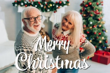 Cheerful senior man and woman looking at camera near merry christmas lettering and decorations on blurred background stock vector