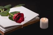 Fotografie rote Rose auf heiliger Bibel neben Kerze auf schwarzem Hintergrund, Beerdigungskonzept