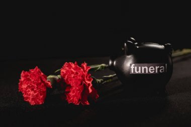 Red carnation flowers and piggy bank on black background, funeral concept stock vector