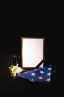 Lily, mirror, ashes and american flag on black background, funeral concept stock vector