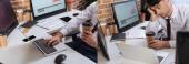 Koláž unaveného podnikatele s donáškou kávy pomocí notebooku v blízkosti počítačů a smartphonu v kanceláři, banner