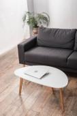 Fotografie Laptop auf Couchtisch neben grauem Sofa und Pflanze in Wohnung
