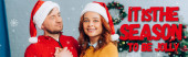 horizontal image of woman in santa hat smiling at camera while embracing husband on christmas, it is season to be jolly illustration