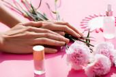 abgeschnittene Ansicht weiblicher Hände in der Nähe von Nelkenblumen, Flaschen Nagellack und Nagelhautentferner und gefälschte Nägel Palette auf rosa