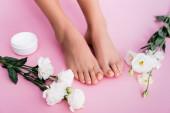 Draufsicht auf Eustoma-Blüten in der Nähe kosmetischer Creme und weiblicher Beine mit Pastell-Pediküre auf rosa Hintergrund