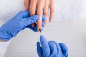 Teilansicht der Maniküre in Latex-Handschuhen, die Nagellack auftragen, während sie Maniküre für den Kunden machen