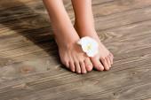 samičí nohy s lesklým růžovým lakem na nehty a bílým eustomovým květem na hnědém dřevěném povrchu