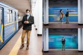 koláž interakčního páru držící se za ruce, muž v lékařské masce pomocí smartphonu v metru