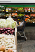 Shopping cart near fresh vegetables on blurred foreground in supermarket