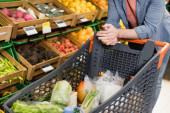 Oříznutý pohled na jídlo v nákupním košíku v blízkosti člověka v supermarketu