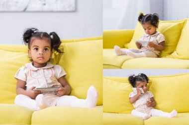 Collage of toddler african american girl holding smartphone while sitting on sofa stock vector
