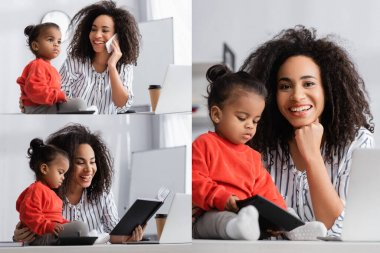 Collage of cheerful african american mother talking on smartphone near toddler daughter on desk stock vector