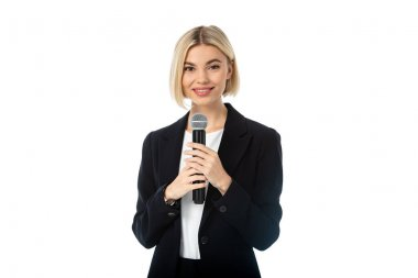 Young blonde news presenter with microphone smiling at camera isolated on white stock vector