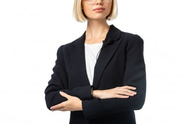Partial view of anchorwoman in black blazer standing with crossed arms isolated on white stock vector