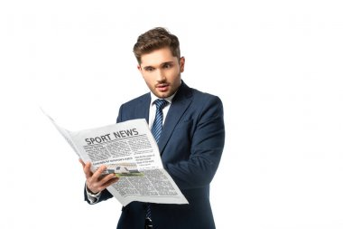 Amazed businessman with sport news newspaper isolated on white stock vector