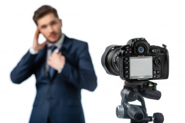 Selective focus of digital camera near news anchor on blurred foreground isolated on white stock vector
