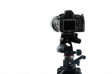 Professional digital camera on tripod isolated on white stock vector