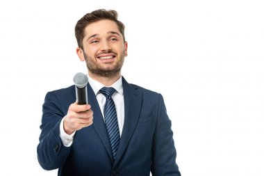 Happy news presenter holding microphone while looking away isolated on white stock vector