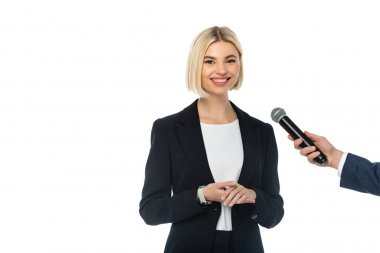 Journalist with microphone interviewing successful businesswoman isolated on white stock vector