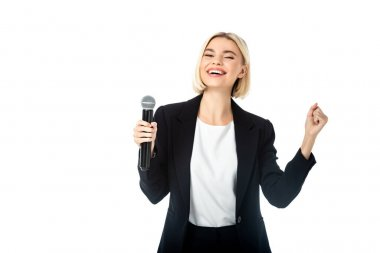 Excited news anchor with microphone showing triumph gesture isolated on white stock vector