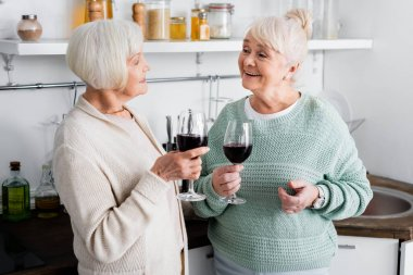 Happy retired women holding glasses with wine and looking at each other in kitchen stock vector