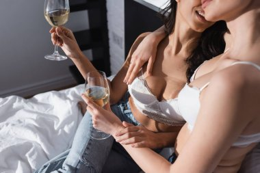 Cropped view of happy lesbian couple in bras holding glasses of white wine while resting on bed stock vector