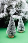 dekorativní vánoční stromky a jedlovou větev pokrytou sněhem na zelené
