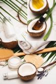 Collage aus natürlichen Zutaten, hausgemachter Kosmetik, Massagebürste, Handtuch und Schwämmen in der Nähe von Palmblättern auf weiß