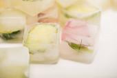 Nahaufnahme von erfrischenden Gemüseiswürfeln auf weißem, unscharfem Hintergrund