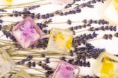 vrchní pohled na květinové a ovocné kostky ledu a levandulové větvičky na bílém povrchu