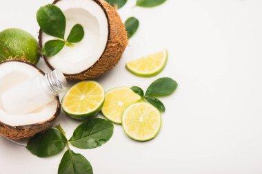 Sliced lime, rose leaves, coconut halves and milk on white background stock vector
