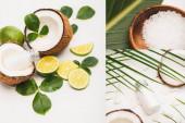 Collage aus Kokosnusshälften, Lotion, Limette, Schüssel mit Meersalz und Blättern auf weißem Hintergrund
