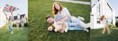 Koláž šťastné rodiny ležící na trávníku, létající souprava a matka prasečí backing dcera v blízkosti domu, prapor