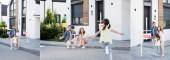 Koláž šťastné rodiny s otevřenou náručí dřepí a dívá se na dceru běží, objímají a stojí blízko cedule s prodaným nápisem, prapor