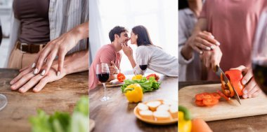 Collage of smiling couple kissing and cooking near glasses of wine in kitchen, banner stock vector