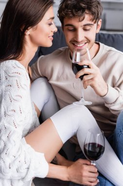 Smiling woman looking at boyfriend with glass of wine at home stock vector