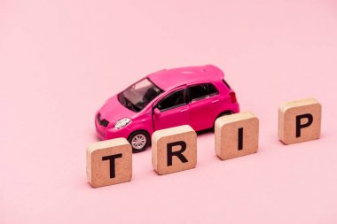 Car and word trip on cubes on pink background stock vector