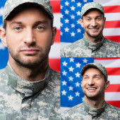 collage of happy military man looking at camera with american flag on blurred background