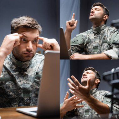 Collage of pensive military man pointing with finger, expressing feelings and looking at laptop in office stock vector