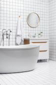 Podřadná moderní bílá koupelna s ručníkem a rostlinami