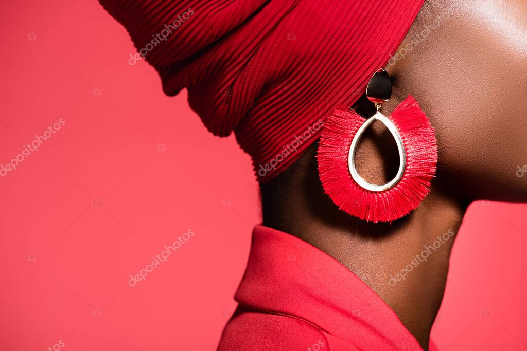 Cropped view of of african american young woman in stylish earring isolated on red stock vector