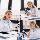 kollázs tudós nézi kamera közelében mikroszkóp és digitális tabletta üres képernyőn
