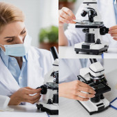 orvosi maszkban lévő tudós kollázsa, amely mikroszkóp közeli mintával ellátott üveglemez-mintát tart