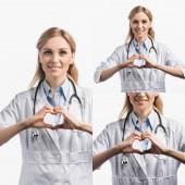 koláž šťastné zdravotní sestry v bílém plášti se znamením srdce s rukama izolovanými na bílém