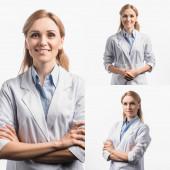 Collage eines glücklichen Arztes in weißem Mantel, der mit verschränkten Armen auf weißem Grund steht
