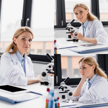 Collage of scientist looking at camera near microscope and digital tablet with blank screen stock vector