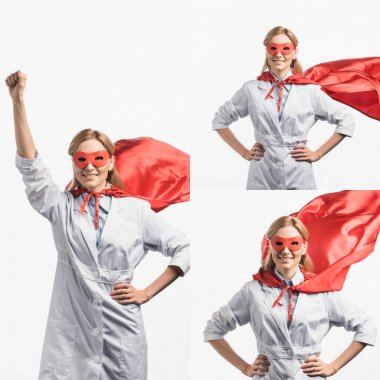 Collage of cheerful nurse in red mask and superhero cape posing isolated on white stock vector