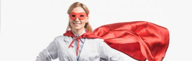 Happy nurse in superhero mask and cloak standing isolated on white, banner stock vector