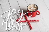 Červený šálek kakaa v blízkosti vánoční cukroví hole v blízkosti radosti na světě nápisy na dřevěném pozadí