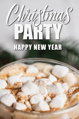 Close up view of glass cup of cocoa with marshmallows and cinnamon near christmas party, happy new year lettering stock vector
